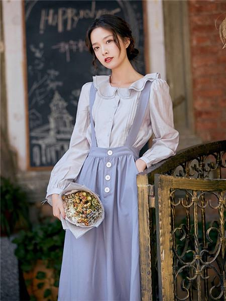 LHN女装品牌2020秋季蓝色吊带原宿半身裙