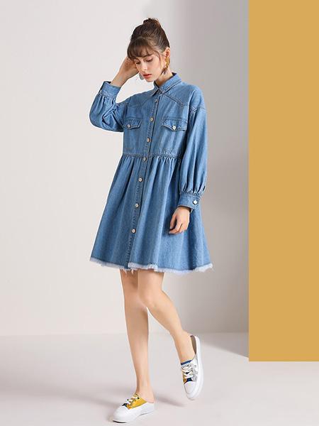佐幕妮女装品牌2020秋冬牛仔连衣裙