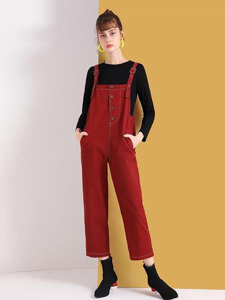 佐幕妮女装品牌2020秋冬红色背带裤