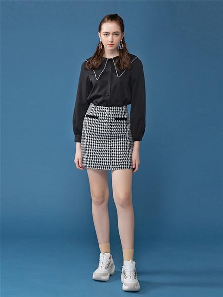 茵烁女装品牌2020秋季黑色长袖开衫
