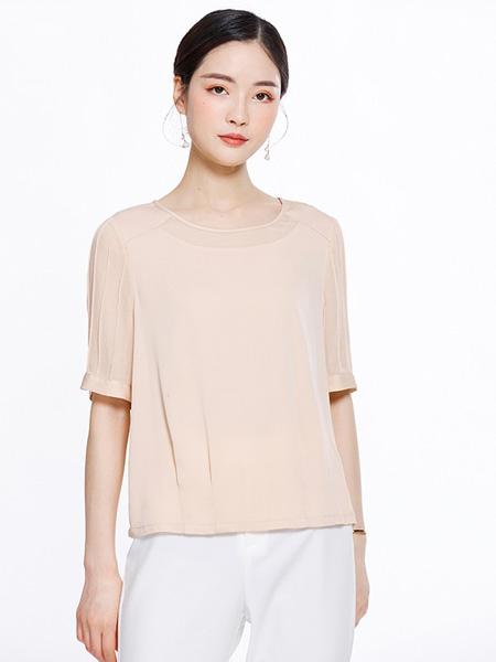 知臣女装品牌2020春夏淡粉色上衣