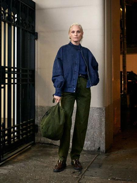 rachelcomey国际品牌2020秋季蓝色长袖牛仔外套
