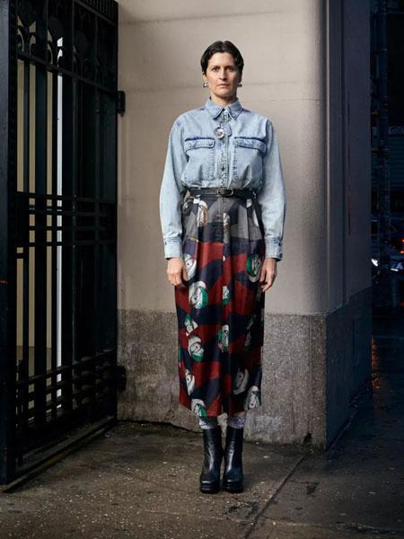 rachelcomey国际品牌2020秋季立领牛仔蓝色上衣