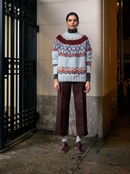 rachelcomey国际品牌2020秋季复古高领条纹针织衫