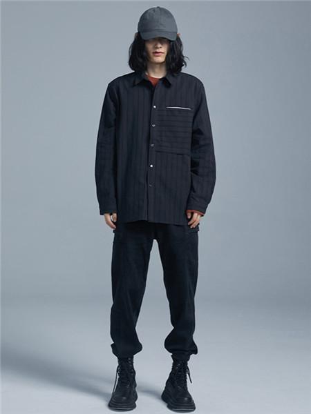 BSIJA男装品牌2020秋季条纹立领黑色外套