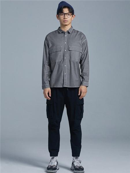 BSIJA男装品牌2020秋季街头灰色衬衫
