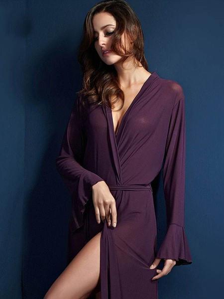 苏泽尔内衣品牌2020秋季紫色情趣宽松睡衣