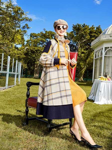 卡米兰女装品牌2020秋冬格子纹长款大衣