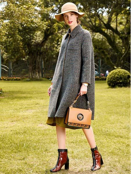 卡米兰女装品牌2020秋冬灰色长款大衣