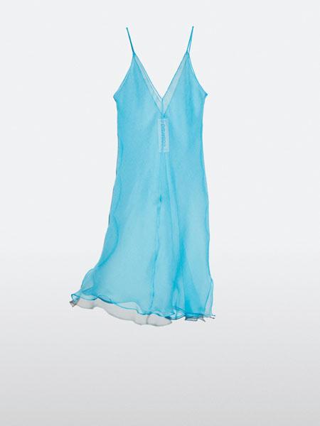 jcobando国际品牌2020秋季青色舒适吊带睡裙