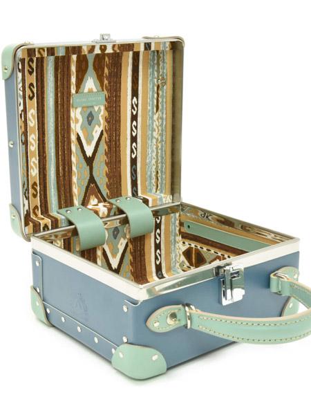 globe-trotter国际品牌2020秋季深蓝色内衬条纹手提箱