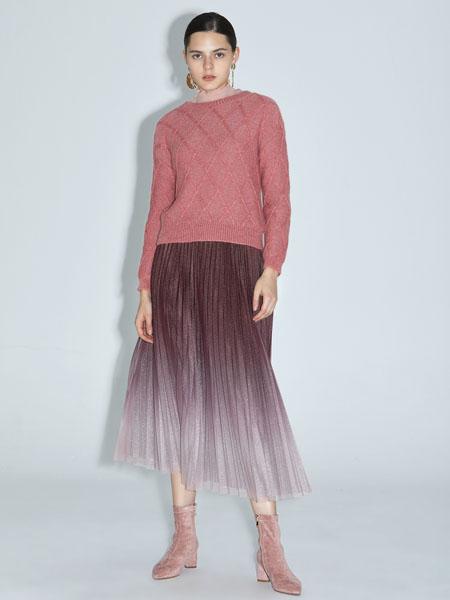 红凯贝尔女装品牌2020秋冬粉色针织毛衣渐变色纱裙