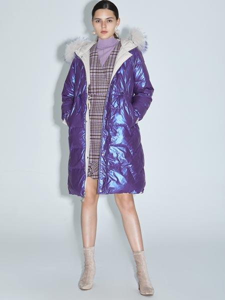 红凯贝尔女装品牌2020秋冬紫色羽绒服