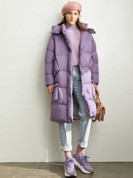 爱依莲女装品牌2020秋冬紫色长款羽绒外套