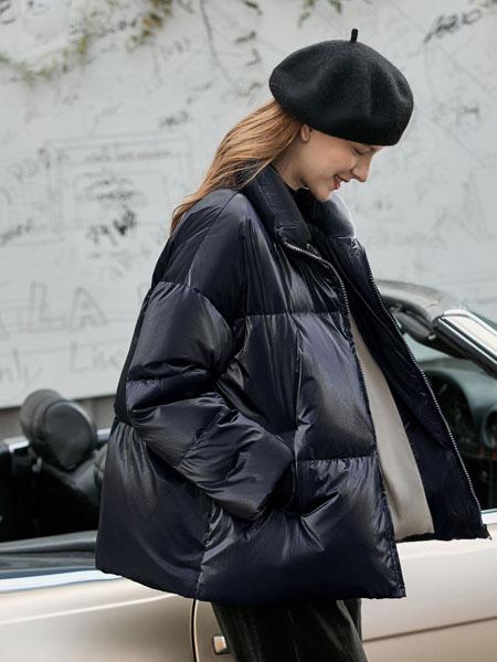 爱依莲女装品牌2020秋冬黑色纯棉羽绒外套