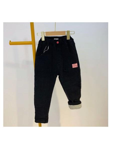 2020冬季儿童夹棉加厚弹力牛仔裤中大童外穿保暖加绒棉裤批发