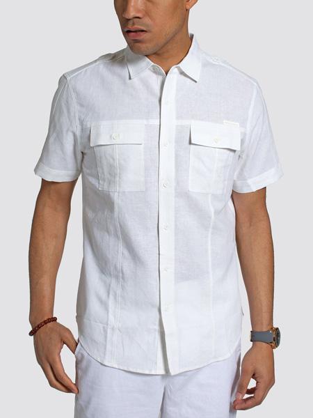 seanjohn国际品牌2020秋季复古白色衬衫