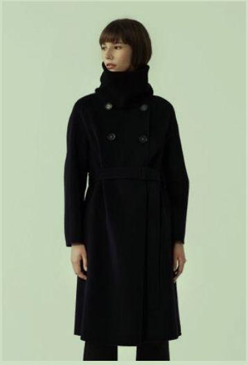 那禾NAHE女装品牌2020秋冬纯黑色高领大衣