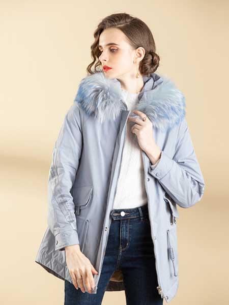 容悦女装品牌2020秋冬淡蓝色加绒外套