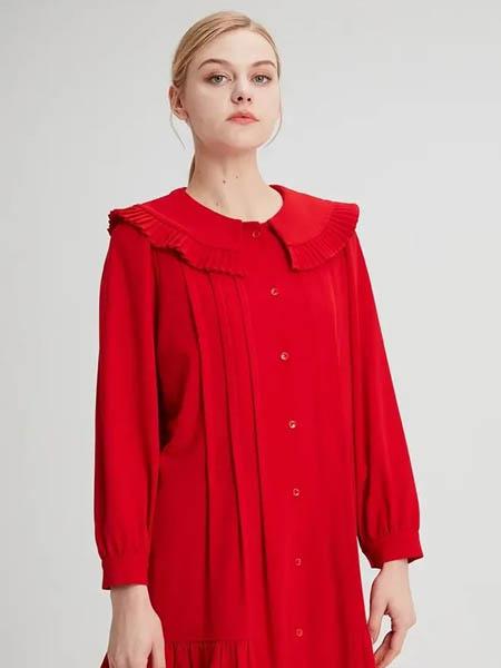 水淼SHUIMIAO女装品牌2020秋季大领褶皱连衣裙