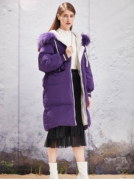 YOSUM衣诗漫女装品牌2020秋冬紫色羽绒外套