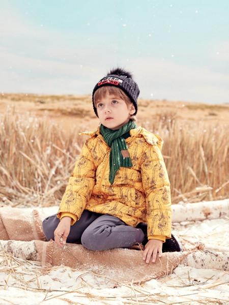 蒙蒙摩米 mesamis童装品牌2020秋冬黄色印花带帽羽绒服