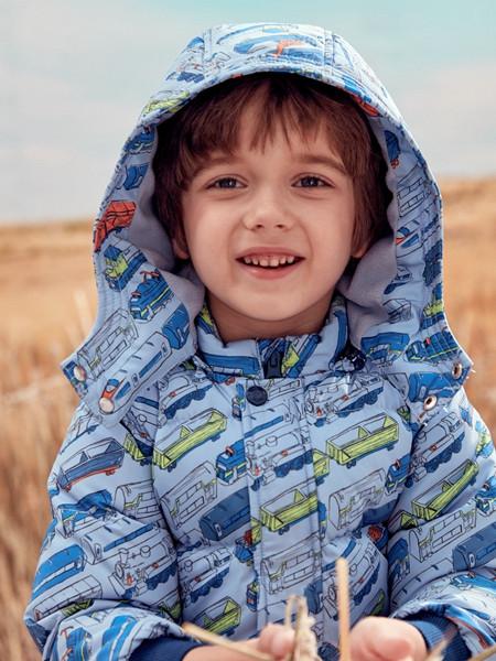 蒙蒙摩米 mesamis童装品牌2020秋冬印花带帽蓝色棉衣