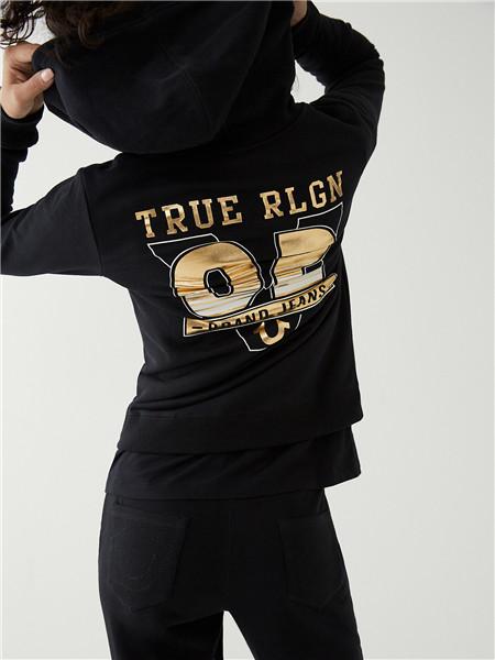 True Religion国际品牌2020秋季字母黑色连帽卫衣