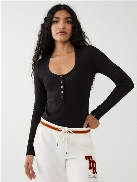 True Religion国际品牌2020秋季舒适黑色修身长袖上衣