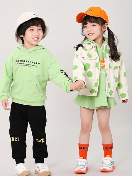 可趣可奇童装品牌2020秋冬青色字母时尚带帽卫衣