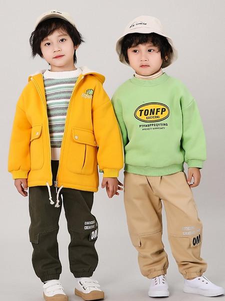 可趣可奇童装品牌2020秋冬黄色潮流毛呢外套