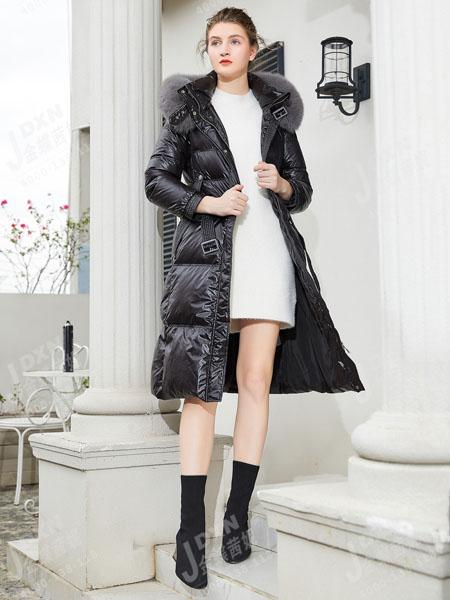 金蝶茜妮女装品牌2020秋冬黑色羽绒服