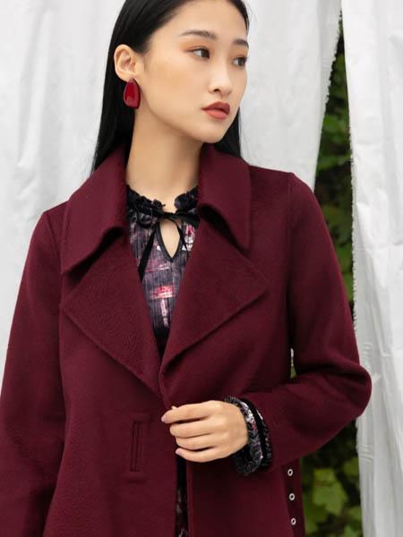 歌锦女装品牌2020秋冬红色长款大衣