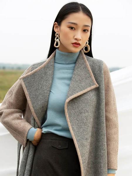歌锦女装品牌2020秋冬双色面长款大衣