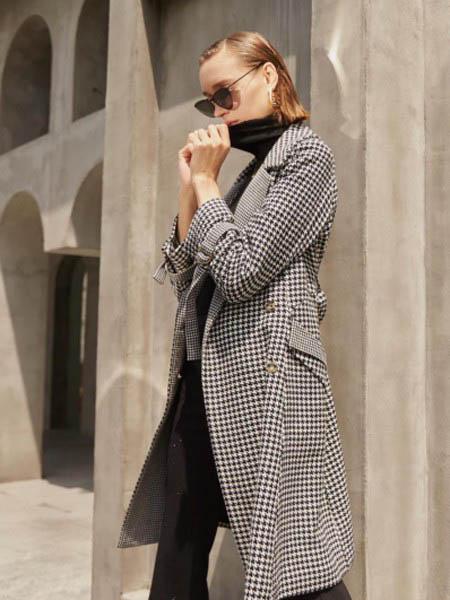 EJNK女装品牌2020秋冬格子纹长款大衣