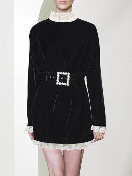 漫逸春色女装品牌2020秋冬黑色连衣裙