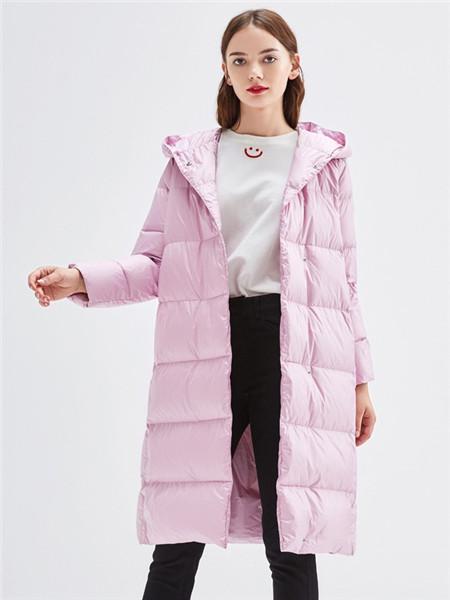 urlazh有兰女装品牌2020秋冬休闲粉色长款羽绒服