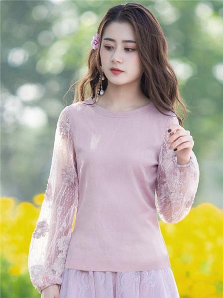 烟花烫女装品牌2020秋冬圆领紫色薄纱上衣