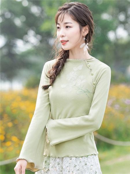 烟花烫女装品牌2020秋冬休闲青色长袖针织衫