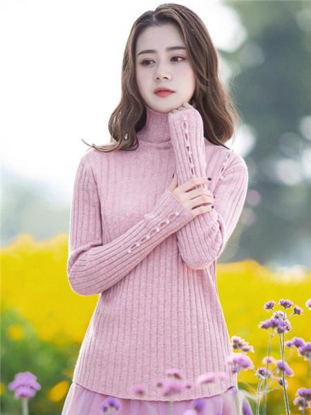 烟花烫女装品牌2020秋冬高领粉色长袖毛衣