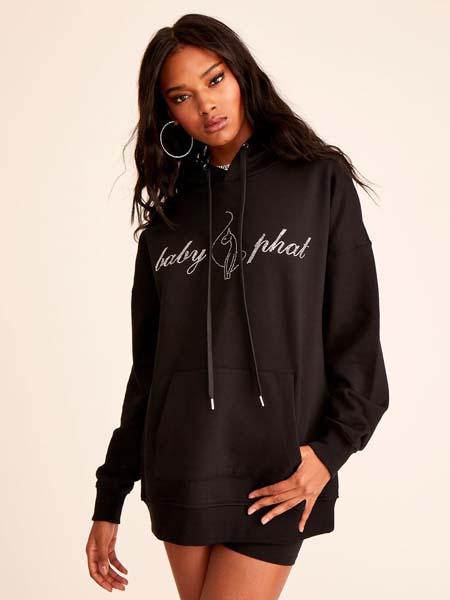 Baby Phat国际品牌2020秋季时尚字母黑色连帽卫衣