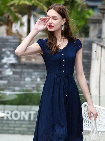 SONAF索娜菲女装品牌2020春夏系腰连衣裙