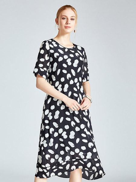 圣迪勒女装品牌2020春夏印花连衣裙