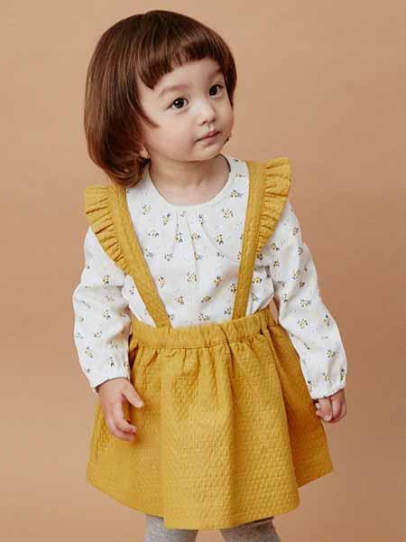 davebella戴维贝拉童装品牌2020秋冬黄色吊带裙