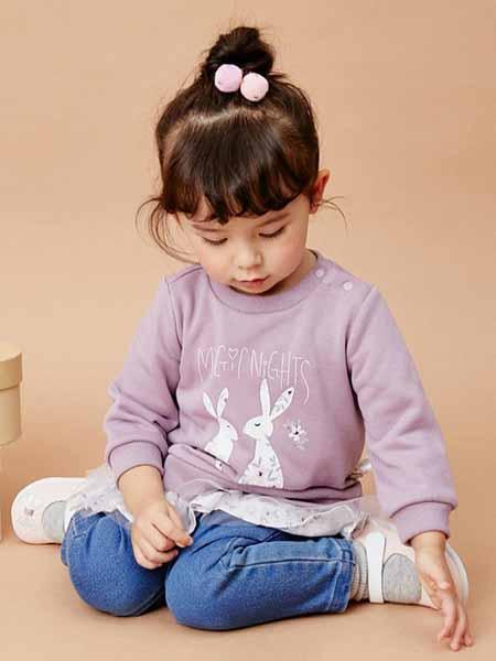 davebella戴维贝拉童装品牌2020秋冬兔子印花羊毛衫