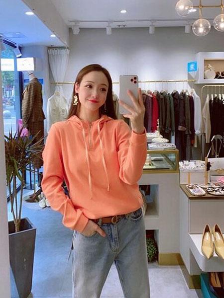 石库门女装品牌2020秋季橘色拉链领口卫衣