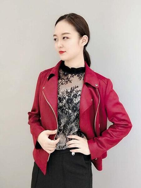 石库门女装品牌2020秋季红色拉链短款保暖皮衣