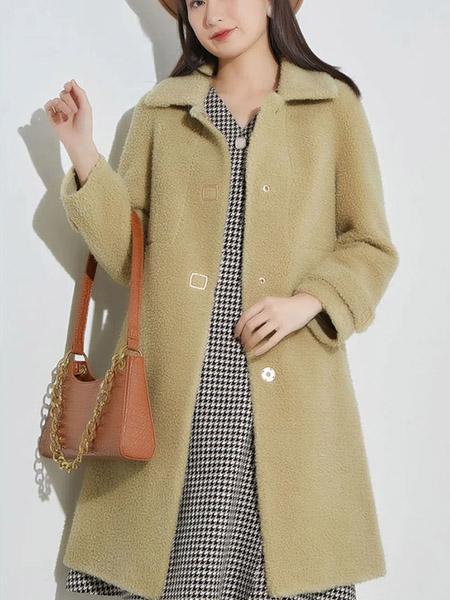 娅丽达女装品牌2020秋冬绿色长款毛绒大衣