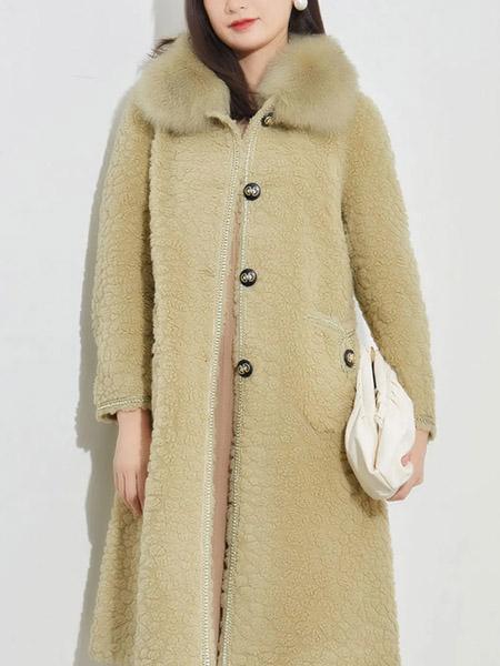 娅丽达女装品牌2020秋冬绿色毛绒长款大衣