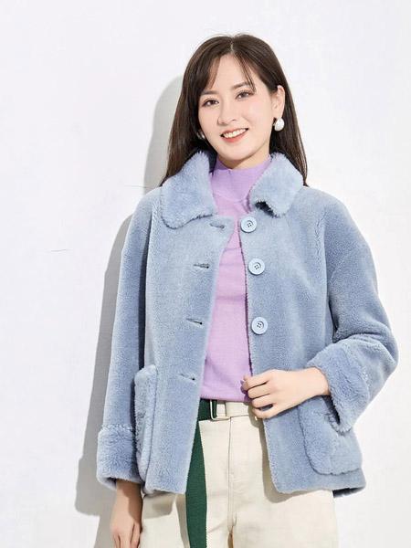 娅丽达女装品牌2020秋冬蓝色短款毛绒外套